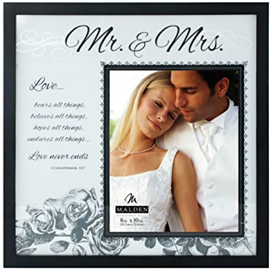 Malden International Designs Wedding Mr. and Mrs. Glass Floater Picture Frame, 8x10/16x16, Black