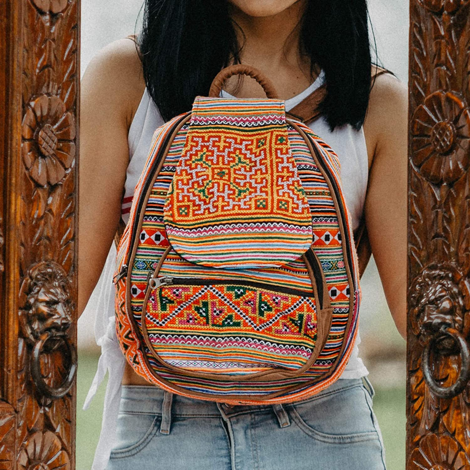 Changnoi Women's Mini Backpack with Hmong Hill Tribe Embroidery, Vintage Backpack, Ethnic Bookbag, One of a Kind Backpack from Thailand