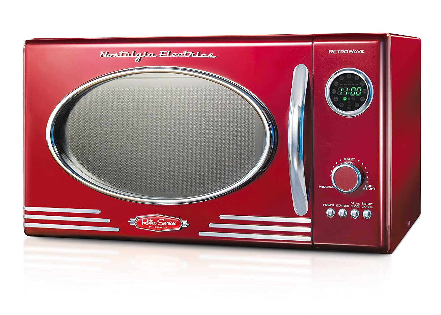 Nostalgia RMO400RED Retro 0.9 Cubic Foot 800-Watt Countertop Microwave Oven - Retro Red