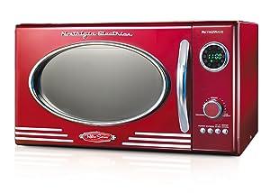Nostalgia RMO400RED Retro 0.9 Cubic Foot 800-Watt Countertop Microwave Oven - Retro Red