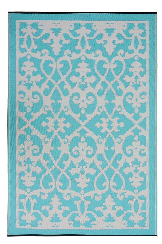 Fab Hab - Venice - Creme & Türkis - Teppich  Matte für den Innen- und Außenbereich (180 cm x 270 cm)