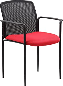 Boss Office Products Stackable Mesh Guest Chair in Red