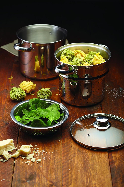 Kitchen Craft Italian Collection - Olla para pasta en acero inoxidable (con accesorio para cocina al vapor, 20 cm): Amazon.es: Hogar