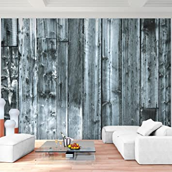 Fototapete Holzoptik Grau 352 x 250 cm Vlies Wand Tapete Wohnzimmer ...