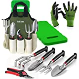 8-Piece Gardening Tool Set-Includes EZ-Cut Pruners, Lightweight Aluminum Hand Tools with Soft Rubber Handles- Trowel…