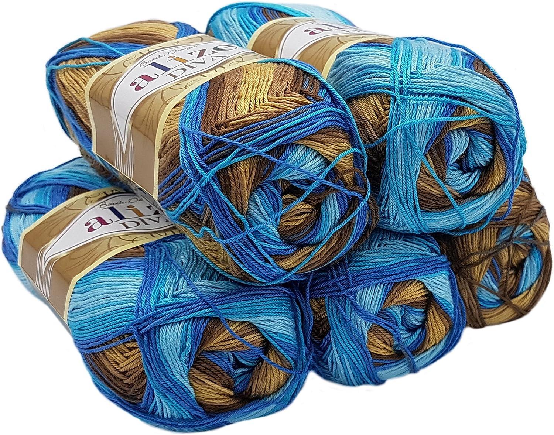 blau 7407 500 Gramm Strickgarn 100/% Baumwolle Ilkadim 2 x 250 g Alize Bella Batik Ombre Strickwolle Farbverlauf Farbverlufswolle