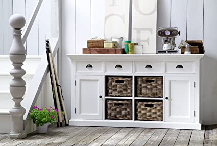 NovaSolo Halifax Pure White Mahogany Wood Sideboard Dining Buffet With  Storage, 4 Drawers And 4