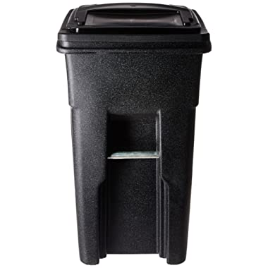 Toter 025532-R1209 Residential Heavy Duty Two Wheeled Trash Can with Attached Lid, 32-Gallon, Blackstone