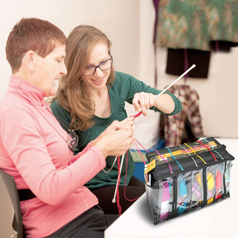 Premium Knitting Bag - Stylish, Durable & Portable Yarn Organizer for Knitting & Crocheting (Black Tote Style) Born to Accessorize