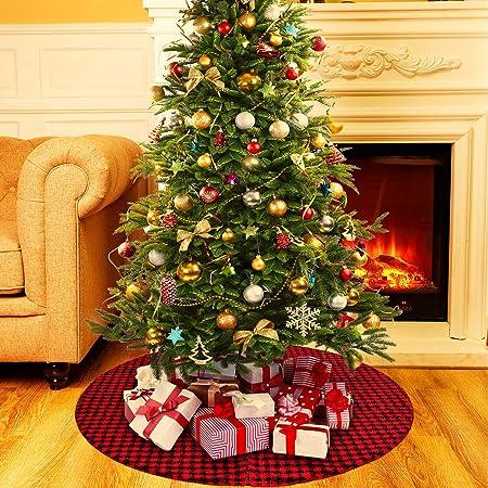 motivo a quadri 105 cm per decorazioni natalizie Ewolee con alberi di Natale e renna a doppio strato stile 1 Gonna per albero di Natale