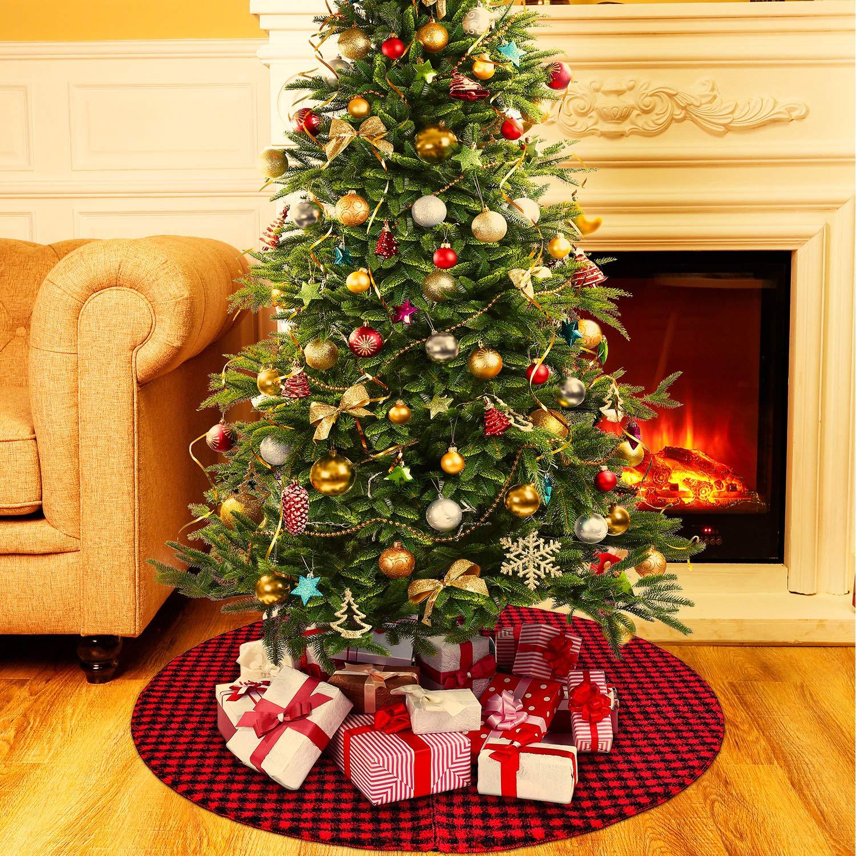 36 Pollici Plaid Gonna dell'Albero di Natale con Rosso e Nero Gonna dell'Albero a Quadri Buffalo Ornamento a Doppio Strato per Decorazione Natalizia Boao