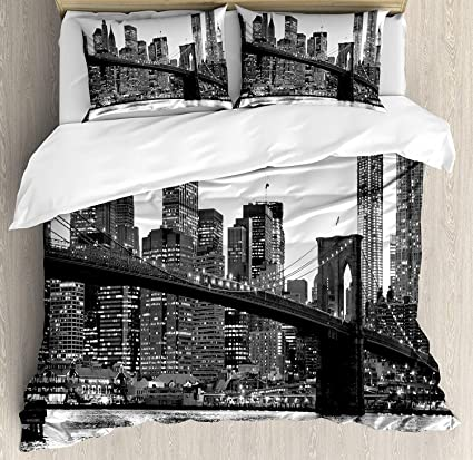 Review Modern 4 Pieces Bedding Set Twin, Brooklyn Bridge Sunset Manhattan American New York City Famous Town Image, Duvet Cover Set Decorative Bedspread for Childrens/Kids/Teens/Adults, Black White