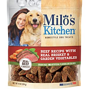 Milo's Kitchen Beef Recipe With Real Brisket and Garden Vegetables Dog Treats, 10 Oz