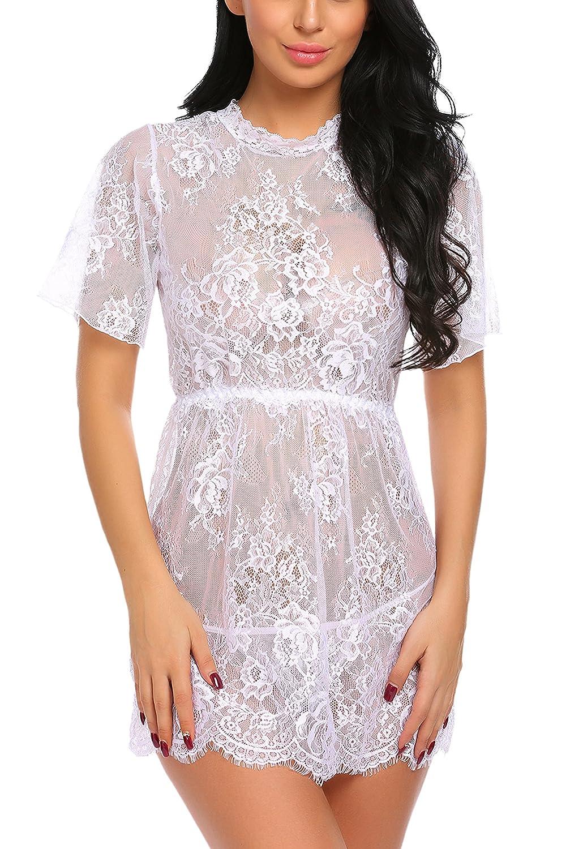 Avidlove Women Lingerie Lace Smock Mesh Nightgowns Kimono Babydoll #ALL006120