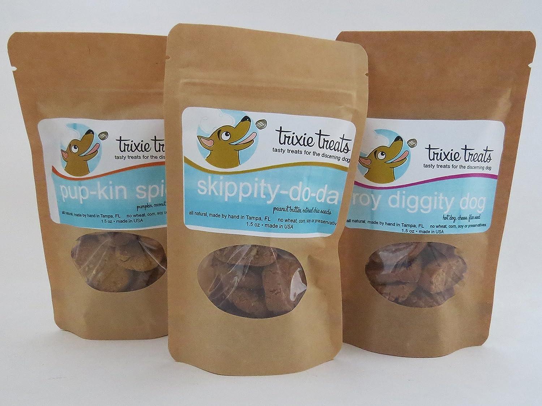 Trixie Treat Sampler of pup-kin spice, skippity-do-da and roy diggity dog graninfree dog treats