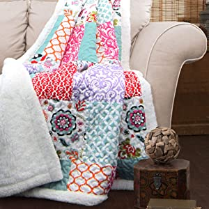 "Lush Decor, Purple and Turquoise Brookdale Reversible Throw-Colorful Floral Pattern Patchwork Blanket-60 x 50"", 60 x 50"