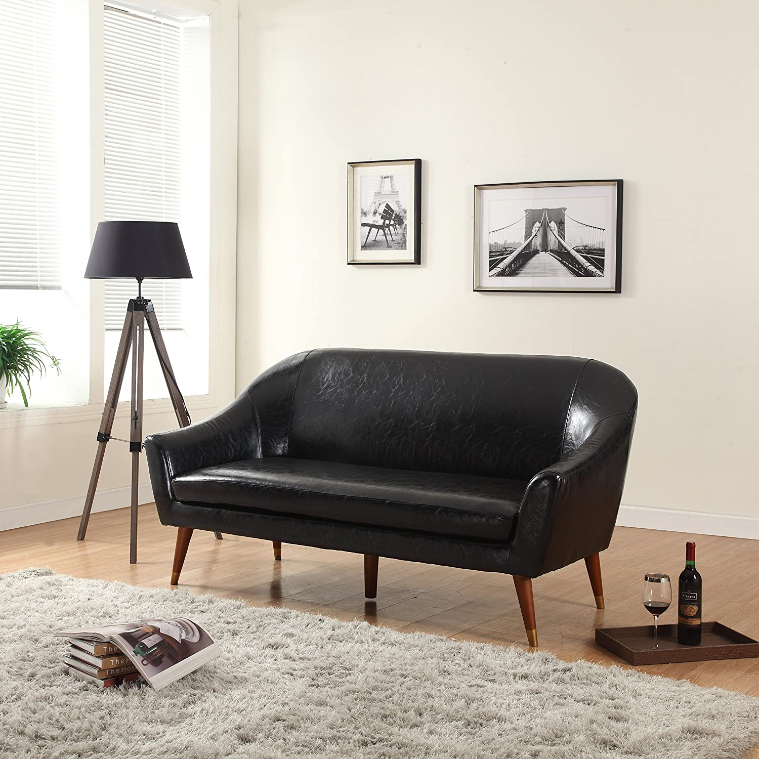 living room furniture amazon. Amazon com  Divano Roma Furniture Mid Century Modern Sofa Bonded Leather Kitchen Dining