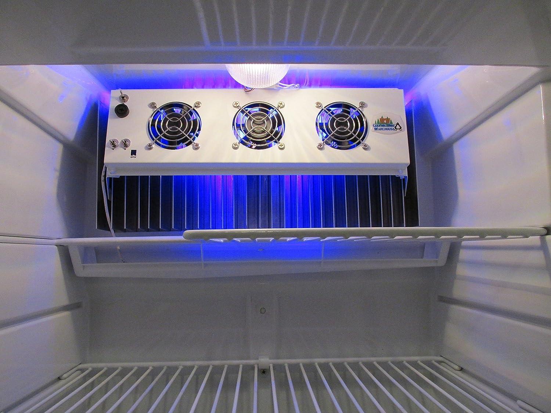 13 Triple Fan Deluxe Frost Guard RV Refrigerator Evaporator Fan w//LED Light /& Grill
