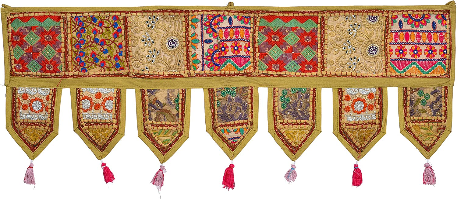 ANJANIYA - Indian Cotton Bohemian Ethnic Vintage Patchwork Door Topper Valances Window Valances Wall Hanging Boho Home Decor Hand Embroidered Toran Hippie Living Room Decor (38x13 inch) (Khaki)