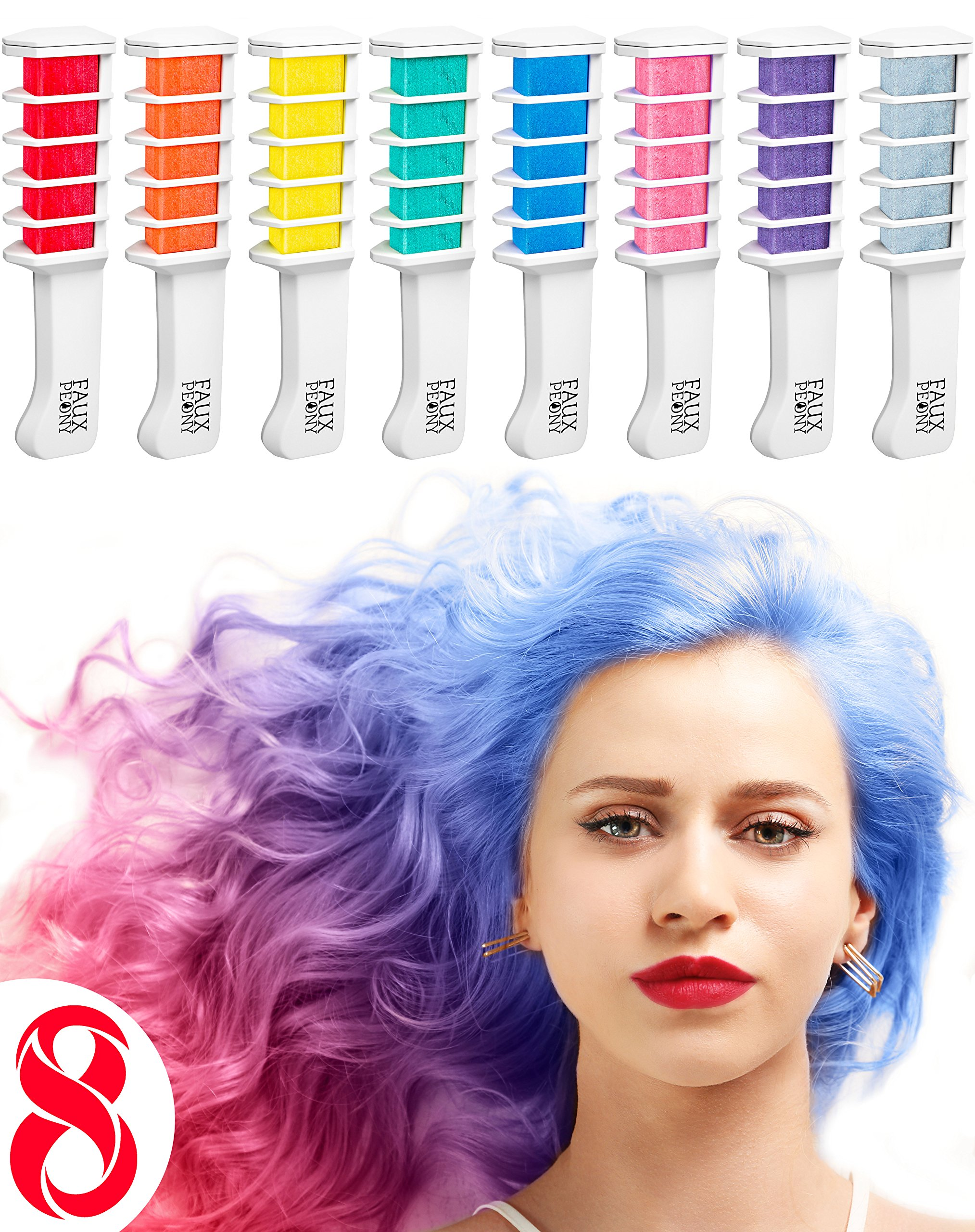 New Hair Chalk Comb Temporary Hair Dye Hair Color Brush Glitter Paint for Adults Kids & Children - Boys & Girls Perfect Gift Idea Set of 8 pcs