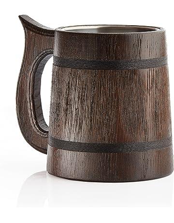 Grande Chope à bière en bois – Chêne – fabriqué à la main avec un Artisanat d14a9fe30dd4
