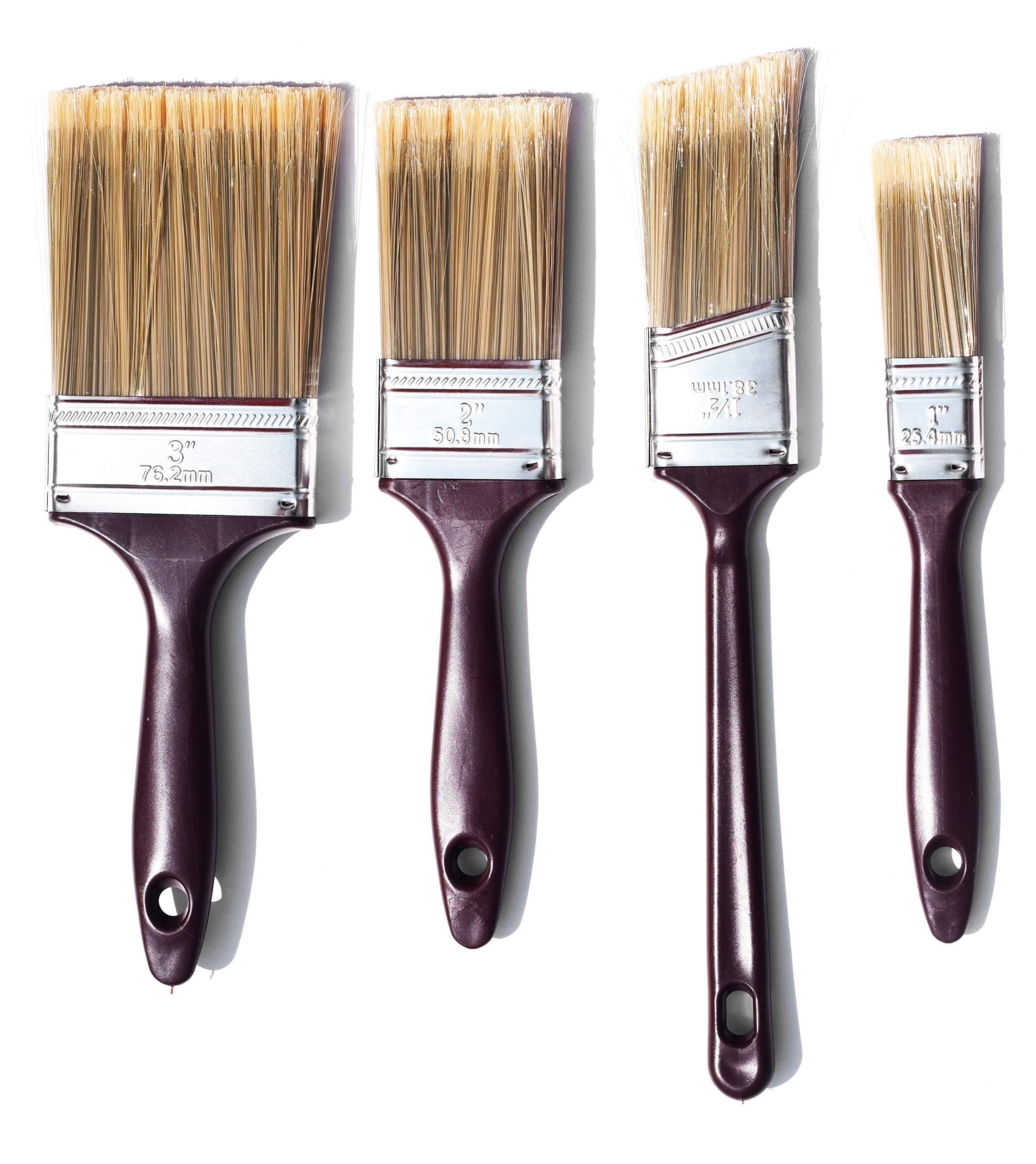 The Shop 1220 flat Paint brushes and cutting brush 4 pack set for acrylic, chalk and oil paints- great for wall and canvas, can be use by artist and painters. Washable