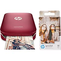 HP Sprocket Portable Photo Printer (Red) & HP Zink Photo Paper (2 * 3 inch) - Pack of 50 - for HP Sprocket & Sprocket 2-in-1