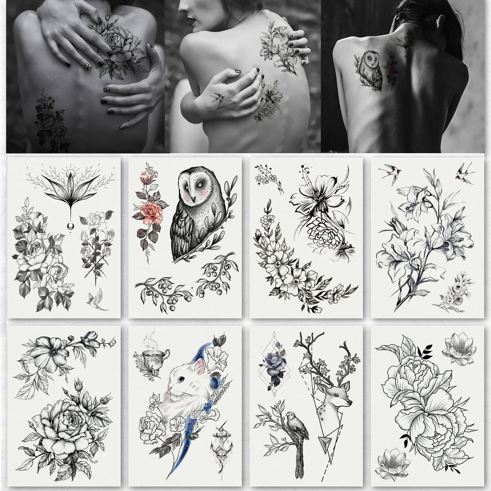 Kotbs 8 Sheets Temporary Floral Tattoos Sexy Body Tattoo Sticker for Girl Women Makeup Waterproof Large Temporary Tattoos Flower Paper Fake Tattoo