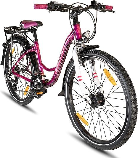 Prometheus Bicicleta Infantil 24 Pulgadas | niño | niña | Bici de Aluminio | Púrpura Rosa | a Partir de 8 años con 21 Marchas - 24