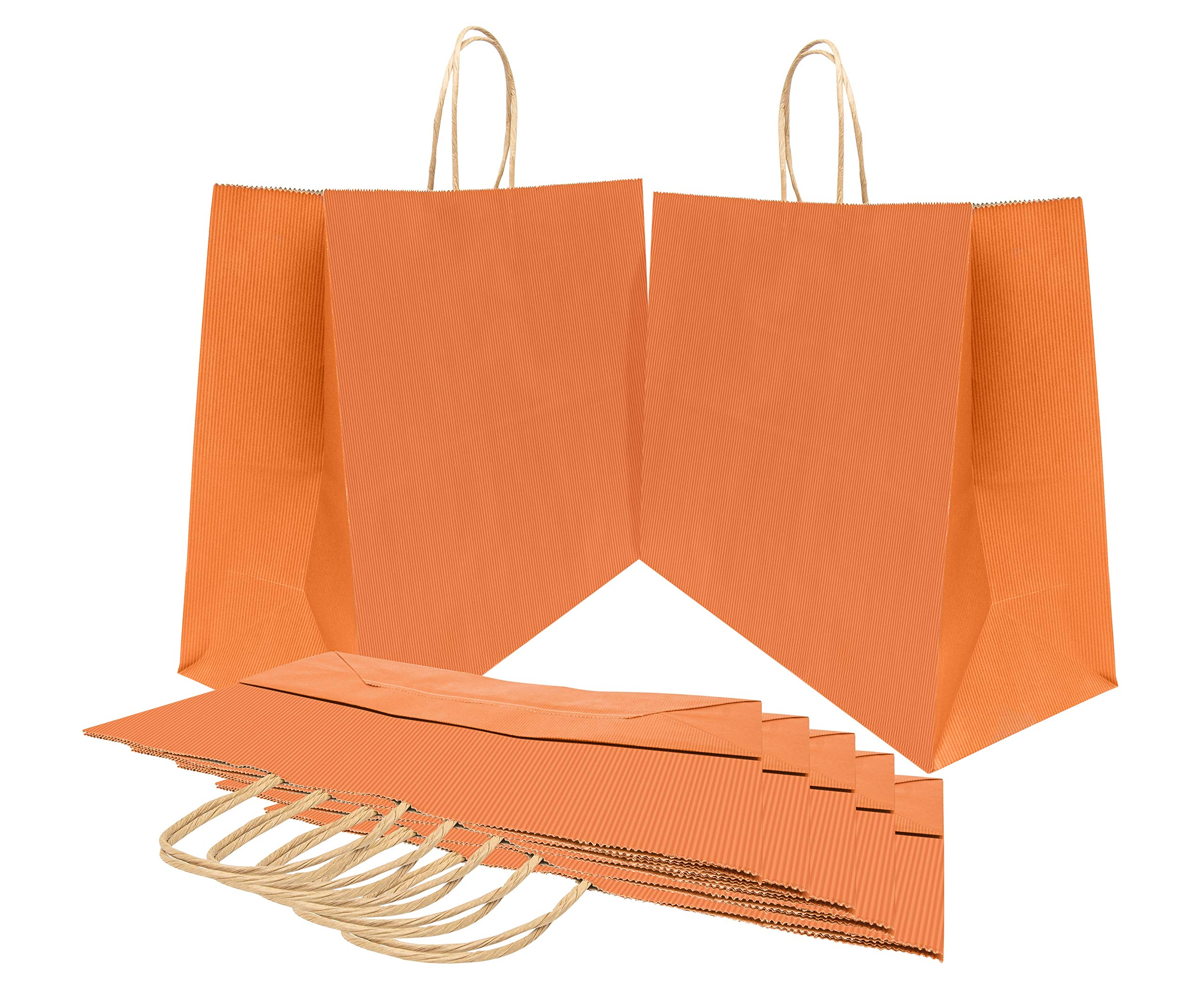 Paper Shopping Bags 16x6x12 Kraft paper bags 16 x 6 x 12 by Amiff. Pack of 25 Orange Retail bags. Kraft carrier bags with handles for Shopping, Merchandise and Grocery. Strong, Reusable.