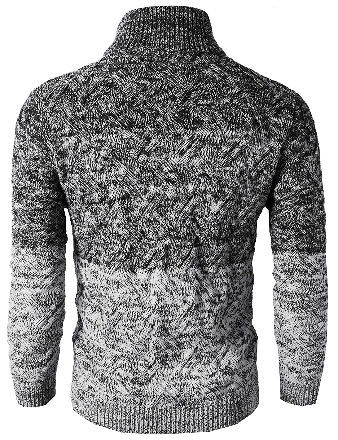H2H Mens Casual Slim Fit Knitted Cardigan Zip-up Long Sleeve Thermal with Twisted Pattern