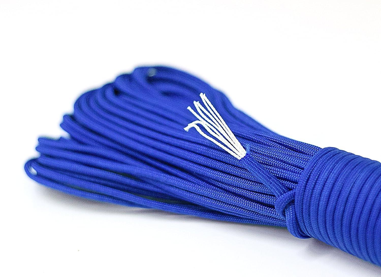 Luces de la cuerda Paracord en la oscuridad (fluorescente) cuerda supervivencia hecha de un fuerte cordón de paracaídas de Paracord Cuerdas 550 libras 31 metros (100 pies) en el color azul de neón (NOTA: ESTO NO ESTÁ DESTINADO P