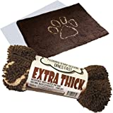 "Dog ""Extra Thick"" Micro Fiber Pet and Dog Door Mat - Super Absorbent. Includes ""Water Proof Liner - Extra Floor Protection"" - Medium Size 32"" X 19"" Exclusive by iPrimio - Brown Color"