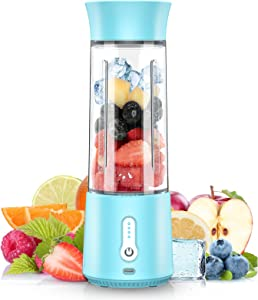QXQ Portable Blender, 17 Oz Personal Size Blender Smoothies and Shakes, Type-C 4000mAh Rechargeable Mini Blender with 500ml Bottle,IPX7 Waterproof Small Blender Single Juicers (Blue)