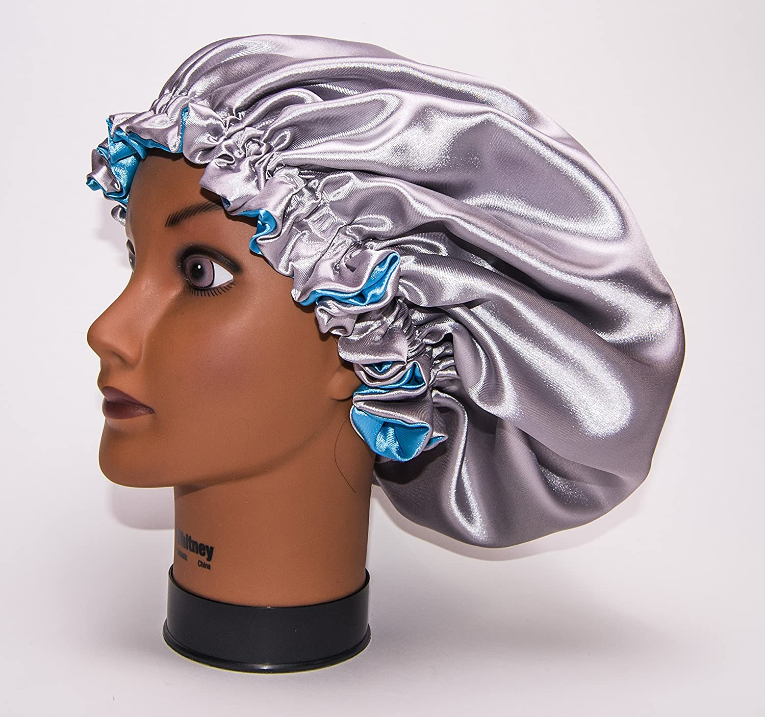 (TURQUOISE & SILVER) - (KIDS) 20Inch Reversible Luxuries Pure Satin Hair Bonnet -Safe For All Hair Types - Most Beneficial hair wrap for sleeping cap 50+ colors & 4 sizes Available