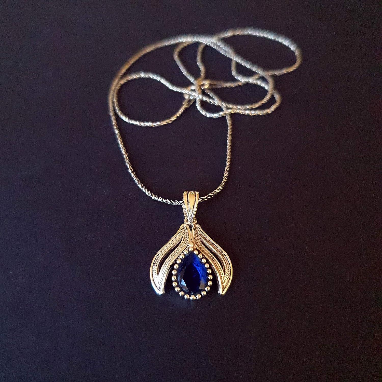 Sapphire Pendant 925 Sterling Silver Minimalist Vintage Charm-Dainty Yoga Pendant-September Birthstone Statement Choker Pendant gift her