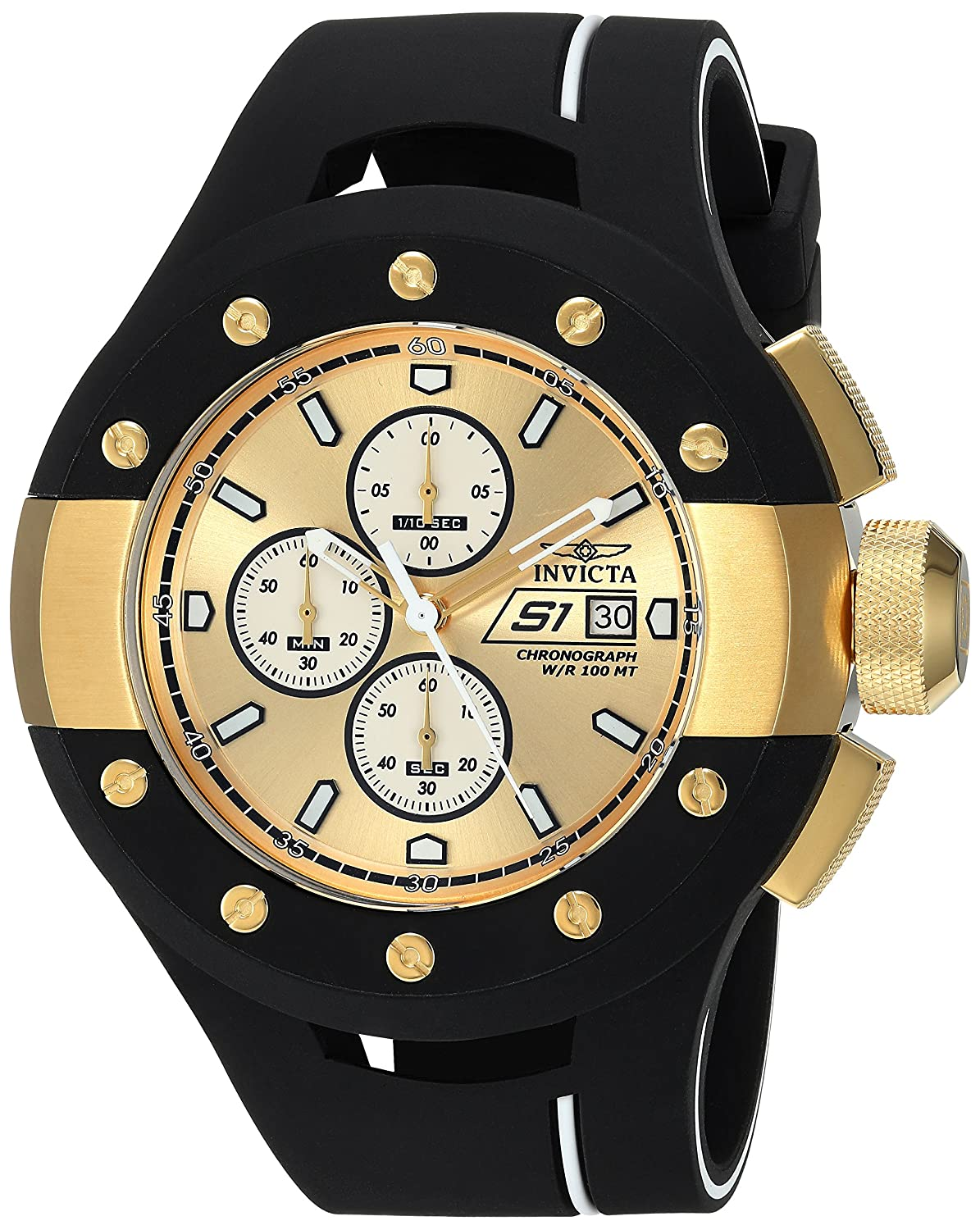 Invicta Men s S1 Rally Stainless Steel Quartz Watch with Silicone Strap, Black, 31 Model 22437