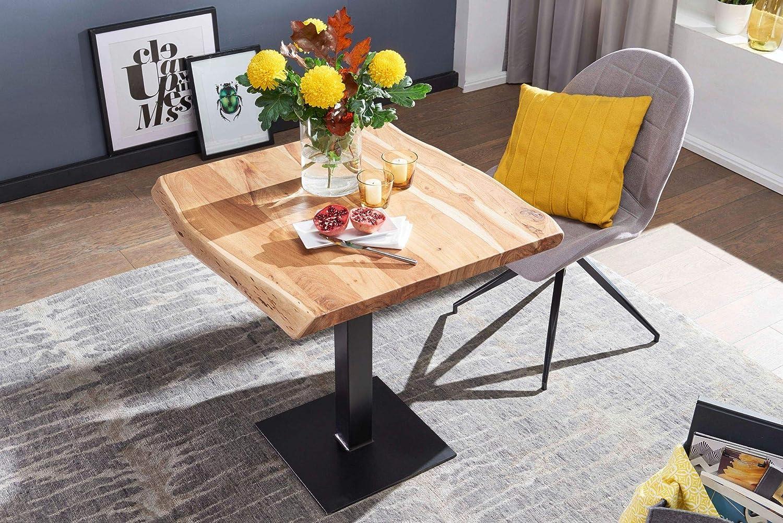 Designer K/üchentisch Quadratisch Kleiner Holztisch Esszimmer FineBuy Esstisch Baumkante 80 x 75 x 75 cm Akazie Massivholz Esszimmertisch
