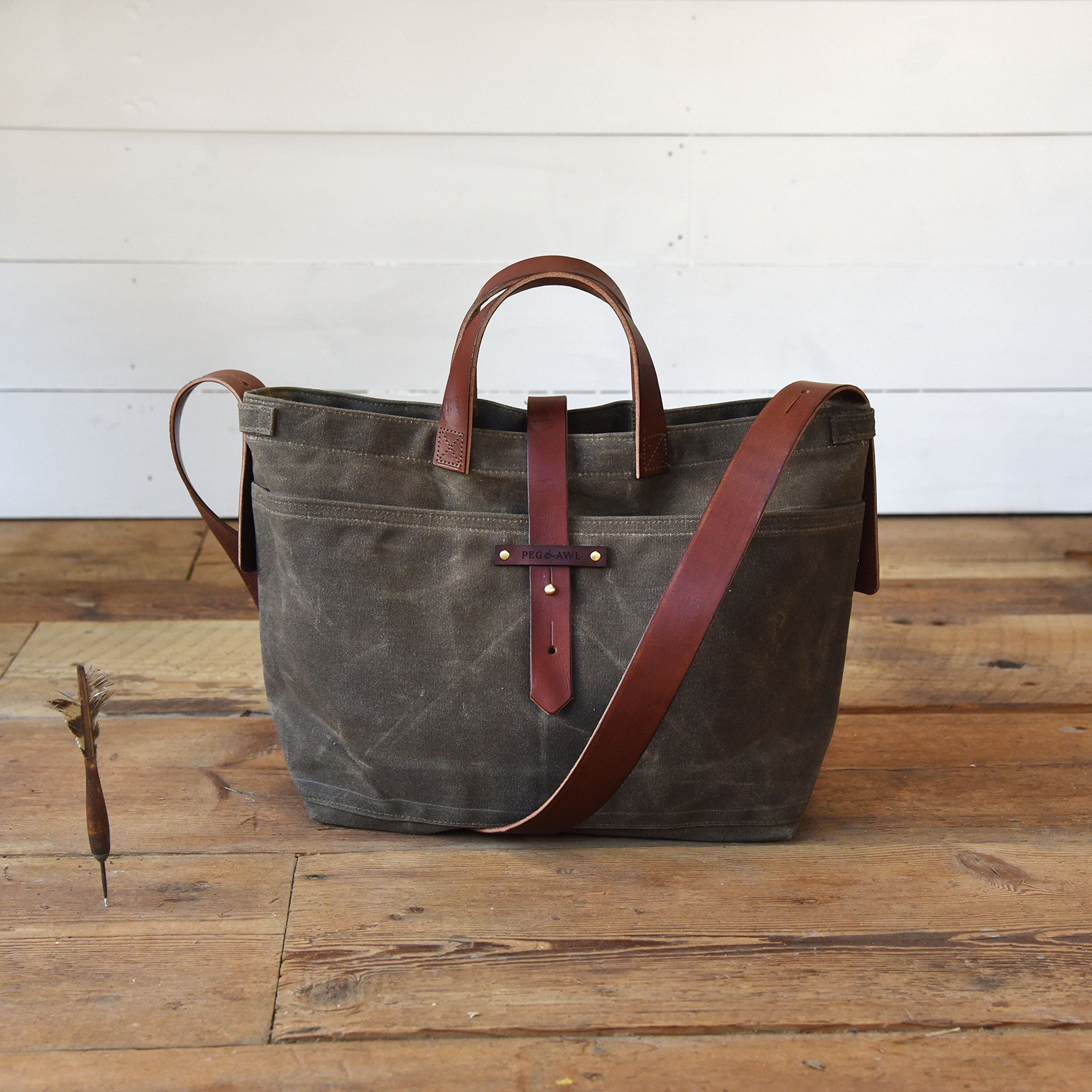 Waxed Canvas Tote by Peg and Awl