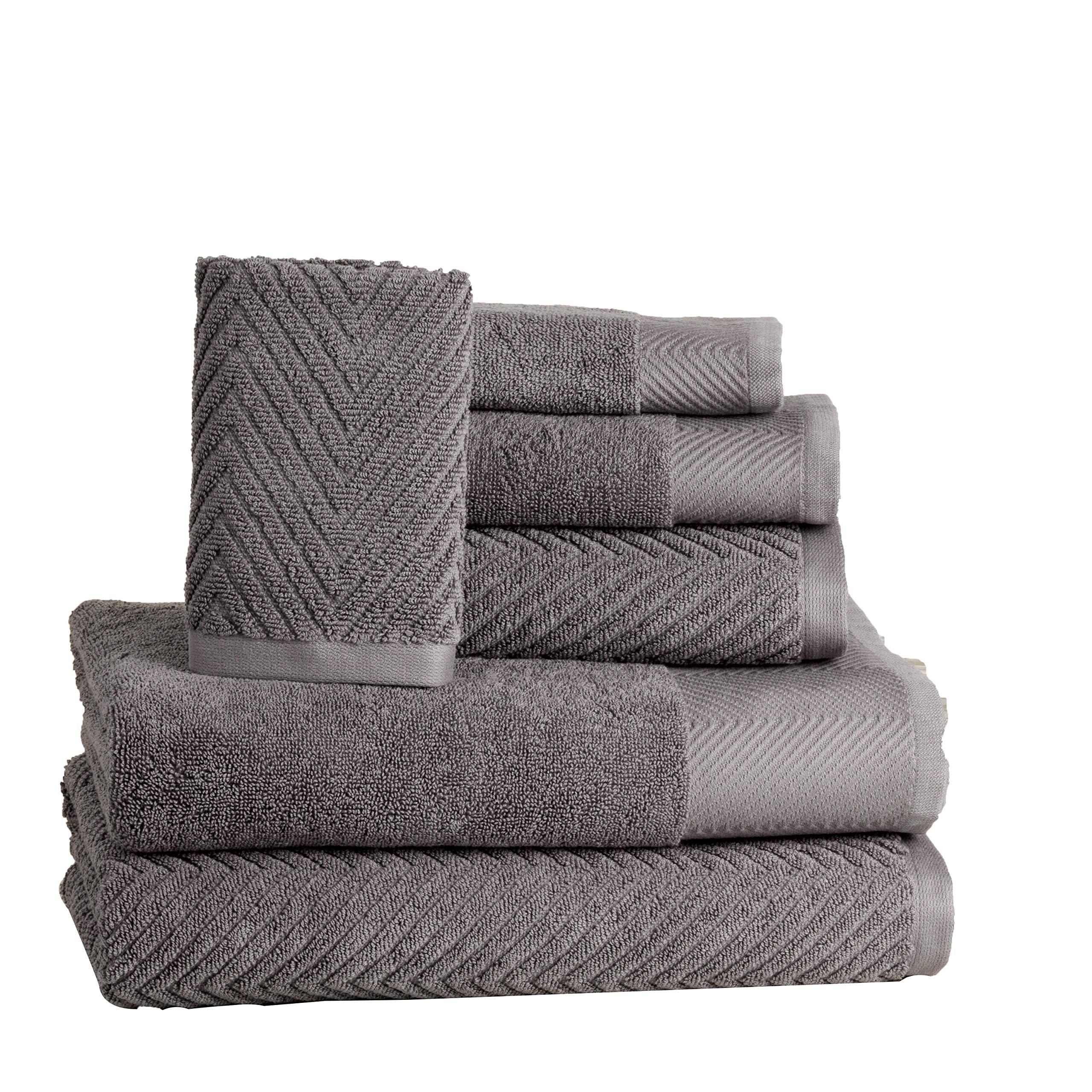 ISABELLA CROMWELL 6 Piece Premium Cotton Bath Towels Set - 2 Bath Towels, 2 Hand Towels, 2 Washcloths Machine Washable Super Absorbent Hotel Spa Quality Luxury Towel Gift Sets Chevron Towel Set- Grey