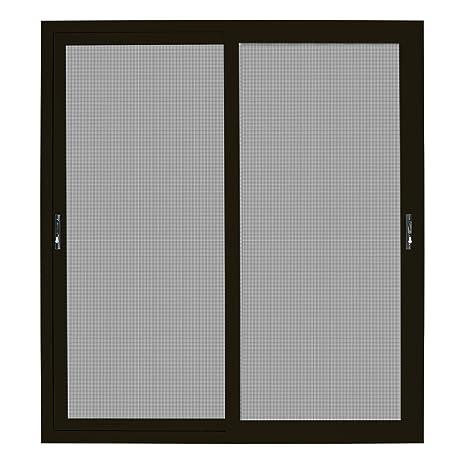72 In X 80 In Bronze Sliding Patio Security Door With Meshtec