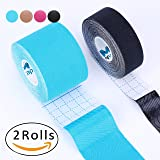 "Kinesiology Tape Pro, Muscle Support Adhesive, Physio Therapeutic Recovery Sports Athletic Aid, Mytape, 2 Uncut Rolls (2""W x 16.4'L / 1""W x 16.4'L, Blue / Black)"