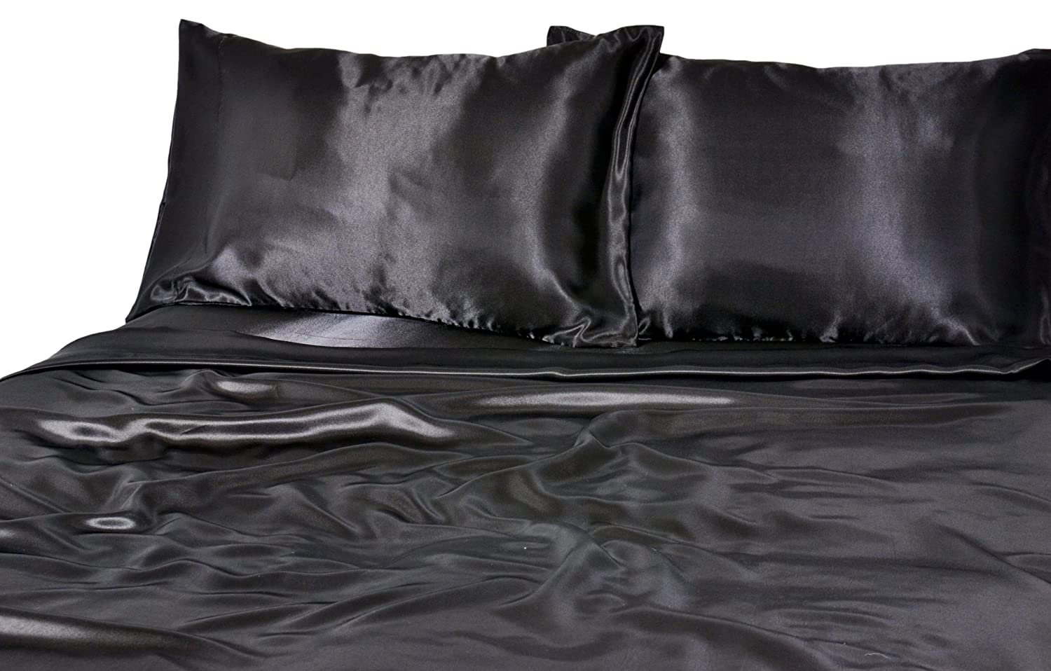 Elite Home Products 100% Luxury Satin Polyester Solid Sheet Set