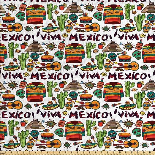 Tela mexicana de Ambesonne de The Yard, Viva México con elementos nativos Poncho Tequila con imagen de Salsa y pimientos calientes, tela decorativa para tapicería y acentos del hogar, 1 yarda, multicolor:
