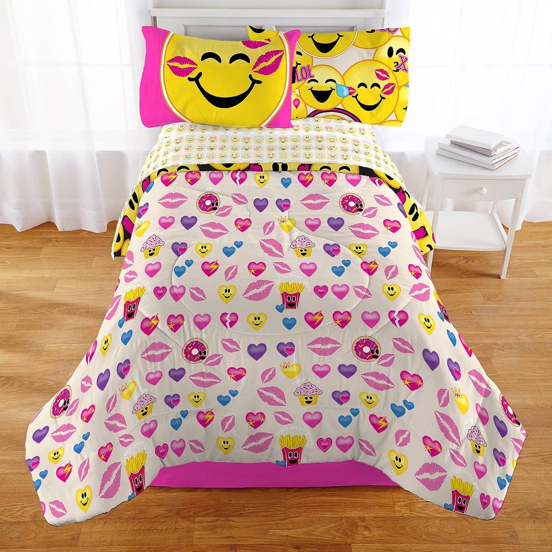 amazoncom emoji complete  piece girls bedding set  twin home  - amazoncom emoji complete  piece girls bedding set  twin home  kitchen