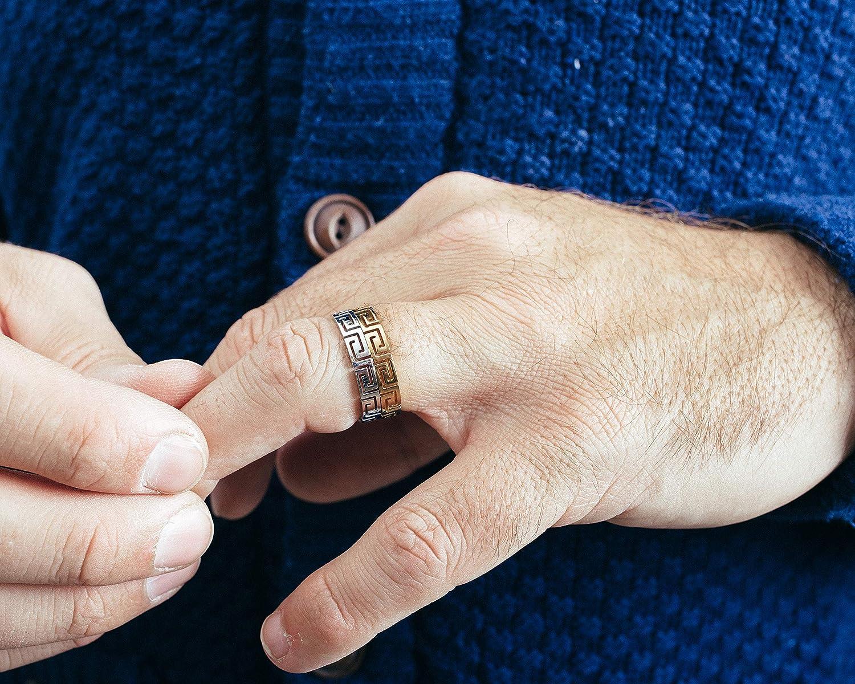 Akitsune Argius Ring Schmuck Damen Herren Edelstahl Schwarz Ornament Griechisch
