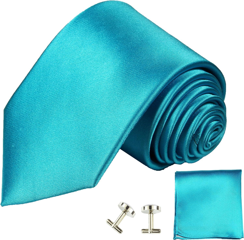 Cravate turquoise satiné uni ensemble de cravate 3 Pièces