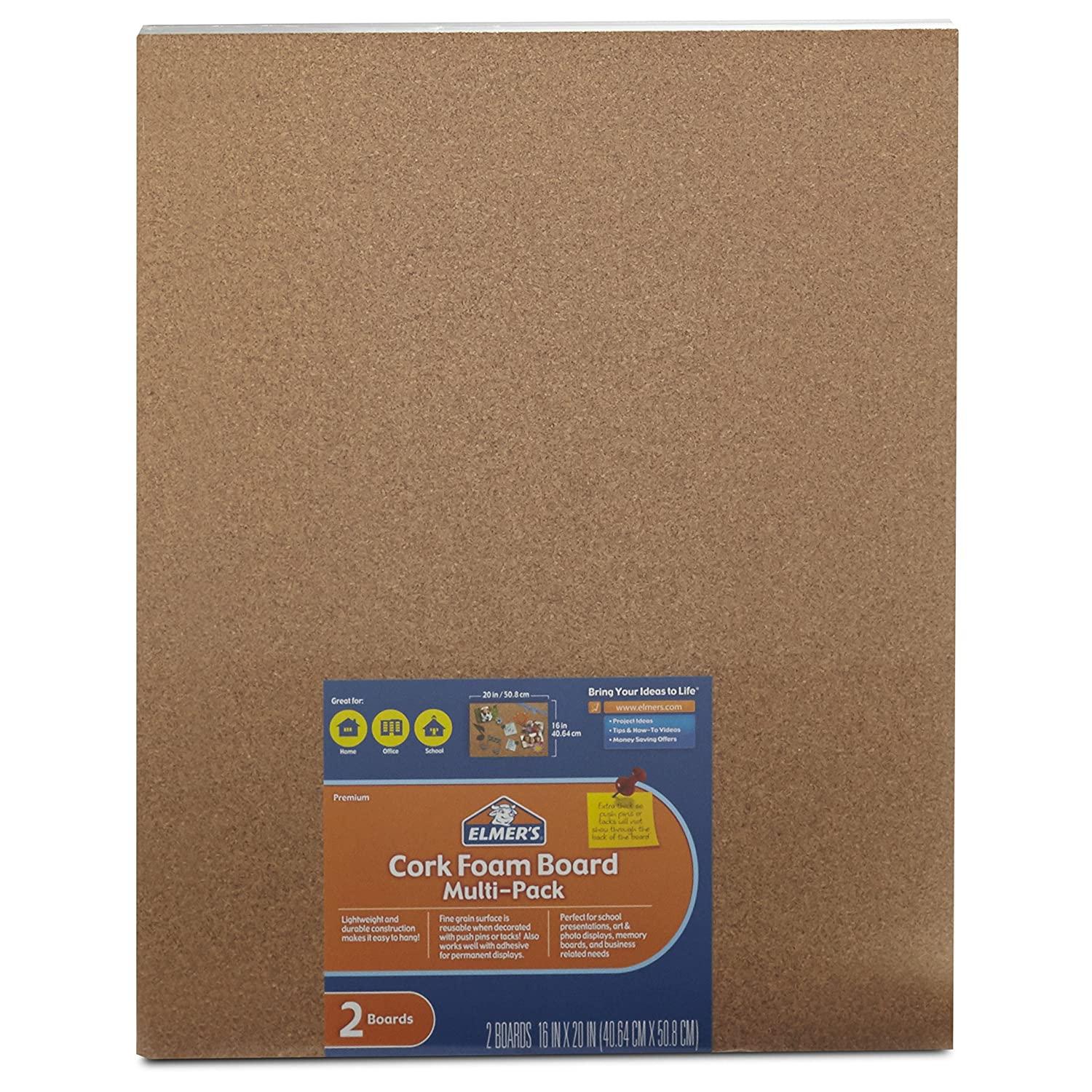 Elmer's Cork Foam Boards, 16 x 20 Inches, 3/8-Inch Thick, 2-Count (950086) Elmer's Cork Foam Boards Elmers