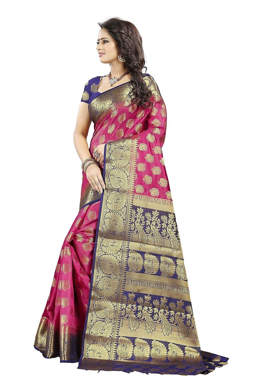3761c489c0 Dealsure Women's Multicolor Banarasi Saree with Blouse Piece.: Amazon.in:  Clothing & Accessories