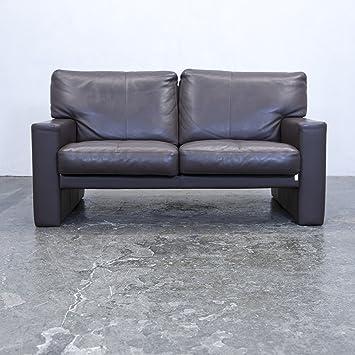Erpo Designer Sofa Leder Braun Zweisitzer Couch Modern Echtleder
